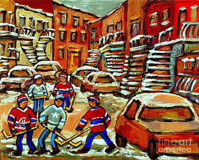 Of Verdun Montreal Winter Street Scenes Montreal Art Carole Painting - Hockey Art Home Team Advantage Streets Of Montreal Paintings Of Verdun Winter City Scenes  by Carole Spandau