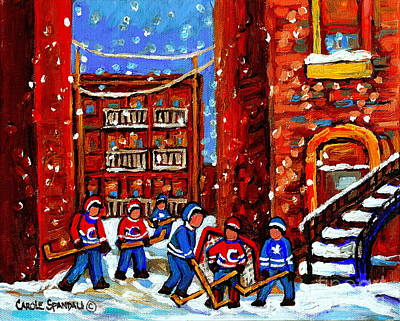 Painting - Hockey Art Home Team Advantage Streets Of Montreal Paintings Of Verdun Winter City Scenes Cspandau by Carole Spandau