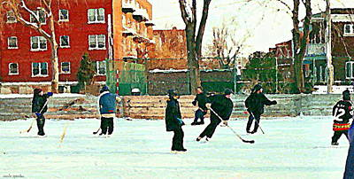 Street Hockey Painting - Hockey Art Shimmy Game Local Rink Montreal Paintings Winter Street Scene Verdun Art Carole Spandau by Carole Spandau