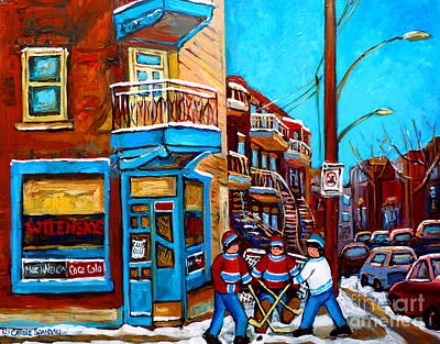 Montreal Street Life Painting - Hockey At Wilensky's Diner by Carole Spandau