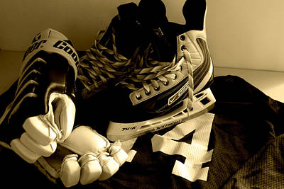 Pond Hockey Photograph - Hockey Black And White by John Turner