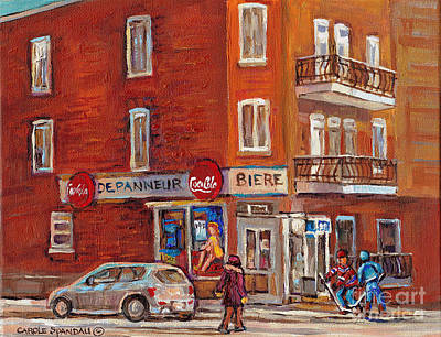 Montreal Street Life Painting - Hockey Game At Corner Store-montreal Depanneur-city Scene Painting-carole Spandau by Carole Spandau