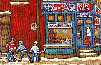 Kik Cola Painting - Hockey Game At The Corner Kik Cola Depanneur  Resto Deli  - Verdun Winter Montreal Street Scene  by Carole Spandau
