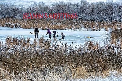 Pond Hockey Digital Art - Hockey Joy - Season's Greetings by Kathy Bassett