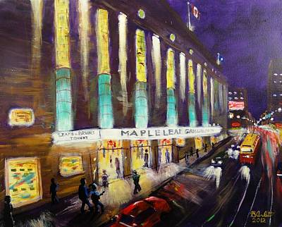 Hockey Art Painting - Hockey Night- Maple Leaf Gardens by Brent Arlitt