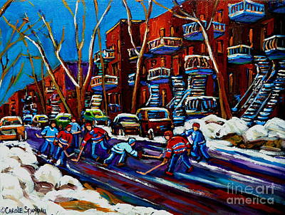 Hockey Painting - Hockey On De Bullion Montreal by Carole Spandau
