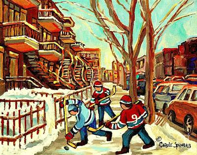 Hockey Art Painting - Hockey Paintings Verdun Streets And Staircases  Winter Scenes Montreal City Scene Specialist   by Carole Spandau