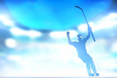 Action Photograph - Hockey Player Celebrating Goal Victory by Michal Bednarek