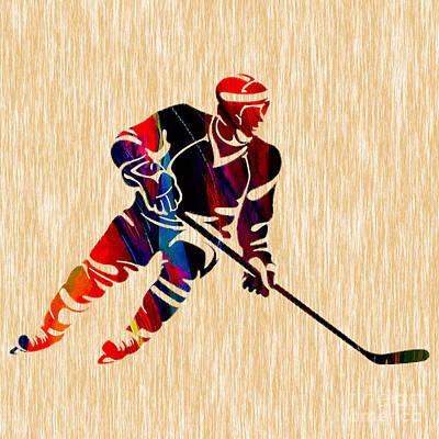 Mixed Media - Hockey Player by Marvin Blaine