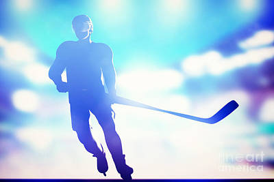 Action Photograph - Hockey Player Skating On Ice by Michal Bednarek
