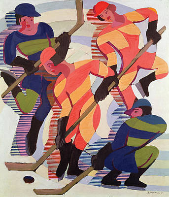 Hockey Game Painting - Hockey Players by Ernst Ludwig Kirchner