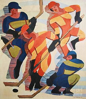 Painting - Hockey  Players by Pg Reproductions
