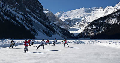 Hockey Players Playing On The Frozen Art Print by Panoramic Images