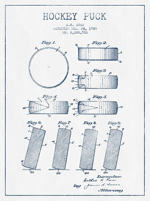 Sports Royalty-Free and Rights-Managed Images - Hockey Puck Patent Drawing From 1940 - Blue Ink by Aged Pixel