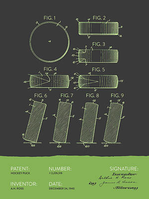 Sports Royalty-Free and Rights-Managed Images - Hockey Puck Patent From 1940 - Gray Green by Aged Pixel