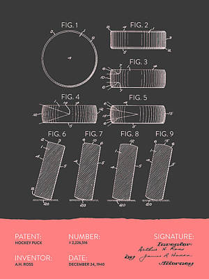 Sports Royalty-Free and Rights-Managed Images - Hockey Puck Patent From 1940 - Gray Salmon by Aged Pixel