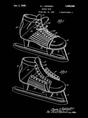 Hockey Shoe Patent 1934 - Black Art Print