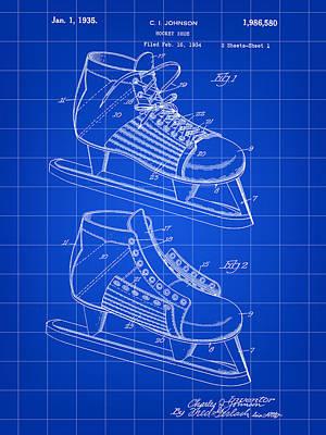 Hockey Shoe Patent 1934 - Blue Art Print