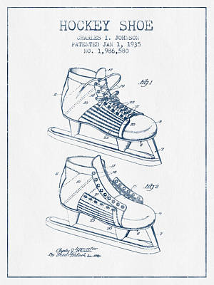 Hockey Shoe Patent Drawing From 1935- Blue Ink Art Print by Aged Pixel