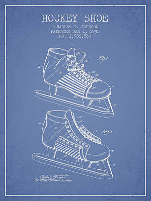 Hockey Shoe Patent Drawing From 1935 - Light Blue Art Print by Aged Pixel