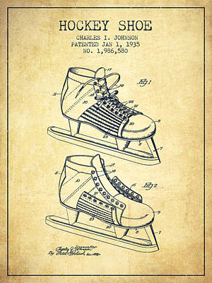 Sports Royalty-Free and Rights-Managed Images - Hockey Shoe Patent Drawing From 1935 - Vintage by Aged Pixel