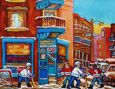 Hockey Stars At Wilensky's Diner Street Hockey Game Paintings Of Montreal Winter  Carole Spandau Print by Carole Spandau
