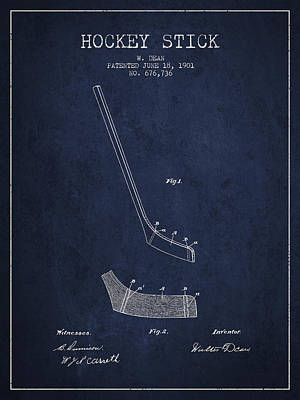 Hockey Stick Patent Drawing From 1901 Art Print