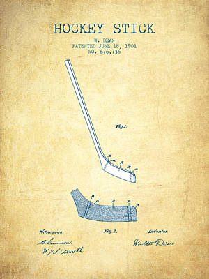 Sports Royalty-Free and Rights-Managed Images - Hockey Stick Patent Drawing From 1901 - Vintage Paper by Aged Pixel