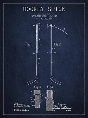 Hockey Games Digital Art - Hockey Stick Patent Drawing From 1915 by Aged Pixel