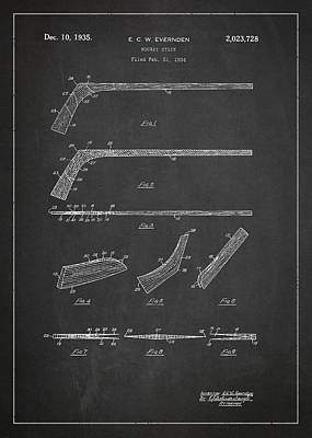 Inventor Drawing - Hockey Stick Patent Drawing From 1934 by Aged Pixel