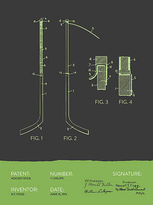 Hockey Games Digital Art - Hockey Stick Patent From 1915 - Gray Green by Aged Pixel