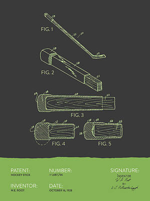 Sports Royalty-Free and Rights-Managed Images - Hockey Stick Patent From 1928 - Gray Green by Aged Pixel