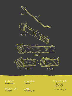 Sports Royalty-Free and Rights-Managed Images - Hockey Stick Patent From 1928 - Gray Yellow by Aged Pixel