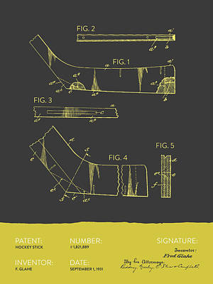 Sports Royalty-Free and Rights-Managed Images - Hockey Stick Patent From 1931 - Gray Yellow by Aged Pixel