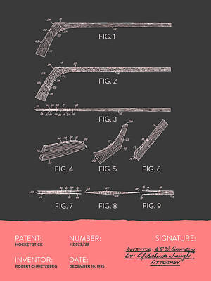 Sports Royalty-Free and Rights-Managed Images - Hockey Stick Patent From 1935 - Gray Salmon by Aged Pixel