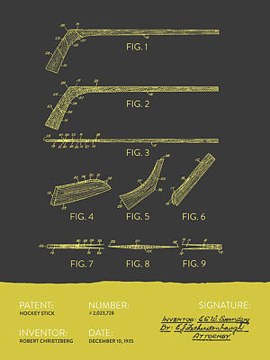 Sports Royalty-Free and Rights-Managed Images - Hockey Stick Patent From 1935 - Gray Yellow by Aged Pixel