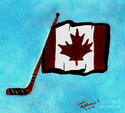 Canadian Sports Artist Painting - Hockey Stick With Canadian Flag by Gail Matthews
