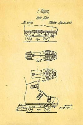 Photograph - Hodgson Roller Skate Patent Art 1869 by Ian Monk