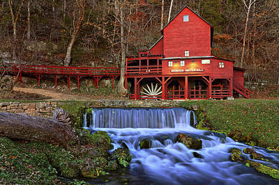 Photograph - Hodgson Water Mill At Twilight - Missouri - Waterfall by Jason Politte