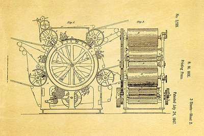 Printer Photograph - Hoe Printing Press Patent Art 2 1847  by Ian Monk