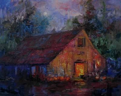 Haybarn Painting - Hoedown At The Old Barn Tonight by R W Goetting
