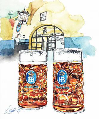 Munich Painting - Hofbrauhaus by Yoshiharu Miyakawa