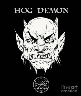 Undead Drawing - Hog Demon by Alaric Barca