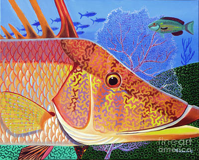 Triggerfish Painting - Hog Face by Lina Tricocci