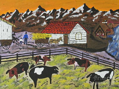 Little Red Wagon Painting - Hog Heaven Farm by Jeffrey Koss