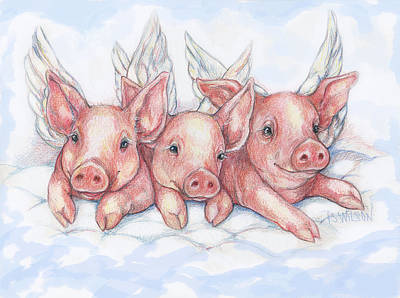 Piglets Mixed Media - Hog Heaven by Peggy Wilson