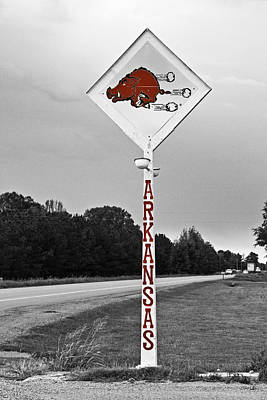 University Of Arkansas Wall Art - Photograph - Hog Sign - Selective Color by Scott Pellegrin