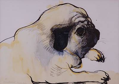 Puppies Drawing - Hogarth by Brenda Brin Booker