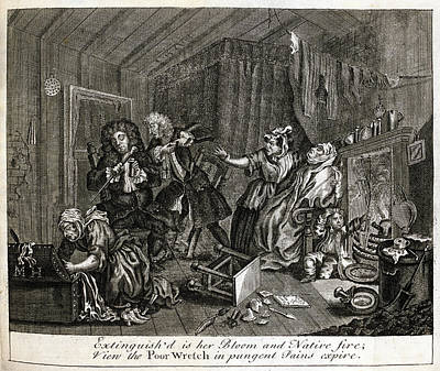 Hogarth On Venereal Disease Art Print by British Library
