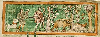 Hogs And Hunting Dogs, 11th Century Art Print by British Library